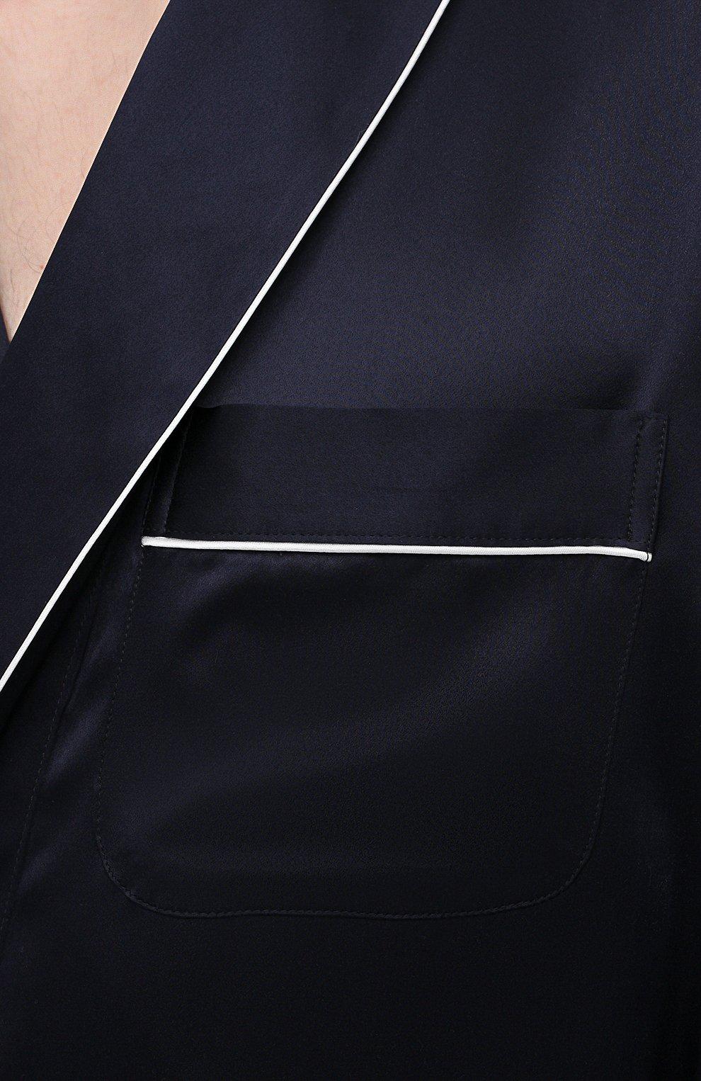 Мужской шелковый халат ZIMMERLI темно-синего цвета, арт. 6000-75131 | Фото 5 (Материал внешний: Шелк; Рукава: Длинные; Кросс-КТ: домашняя одежда; Длина (верхняя одежда): Длинные)