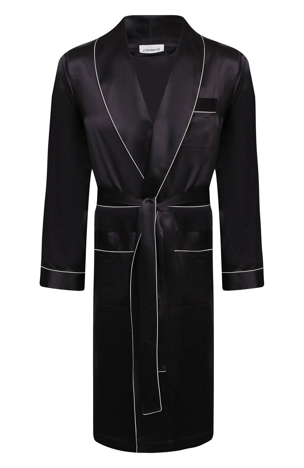 Мужской шелковый халат ZIMMERLI темно-серого цвета, арт. 6000-75131   Фото 1 (Материал внешний: Шелк; Рукава: Длинные; Кросс-КТ: домашняя одежда; Длина (верхняя одежда): Длинные)