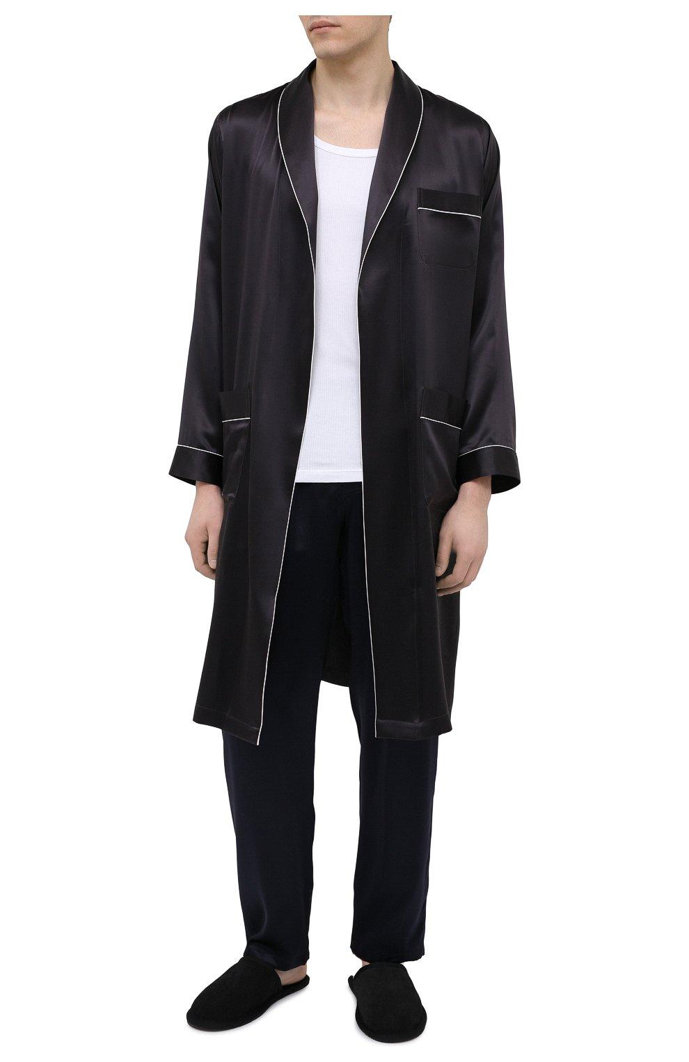 Мужской шелковый халат ZIMMERLI темно-серого цвета, арт. 6000-75131   Фото 2 (Материал внешний: Шелк; Рукава: Длинные; Кросс-КТ: домашняя одежда; Длина (верхняя одежда): Длинные)