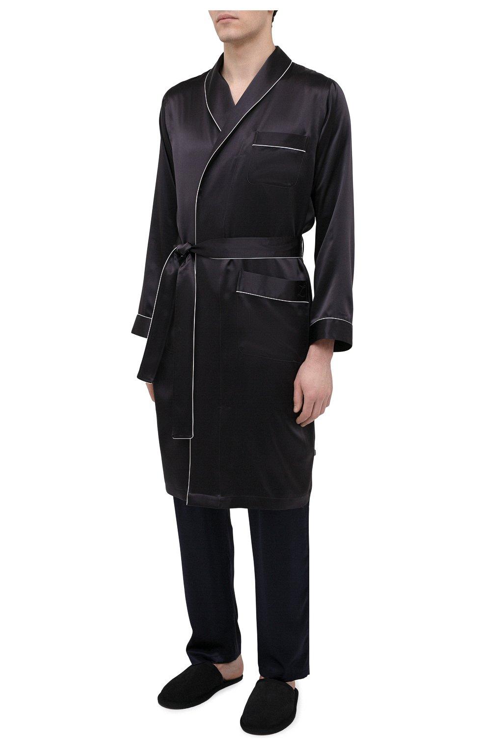 Мужской шелковый халат ZIMMERLI темно-серого цвета, арт. 6000-75131   Фото 3 (Материал внешний: Шелк; Рукава: Длинные; Кросс-КТ: домашняя одежда; Длина (верхняя одежда): Длинные)