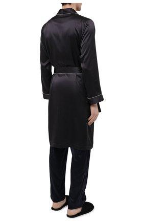 Мужской шелковый халат ZIMMERLI темно-серого цвета, арт. 6000-75131   Фото 4 (Материал внешний: Шелк; Рукава: Длинные; Кросс-КТ: домашняя одежда; Длина (верхняя одежда): Длинные)