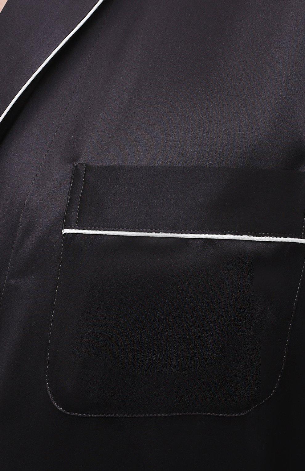 Мужской шелковый халат ZIMMERLI темно-серого цвета, арт. 6000-75131   Фото 5 (Материал внешний: Шелк; Рукава: Длинные; Кросс-КТ: домашняя одежда; Длина (верхняя одежда): Длинные)