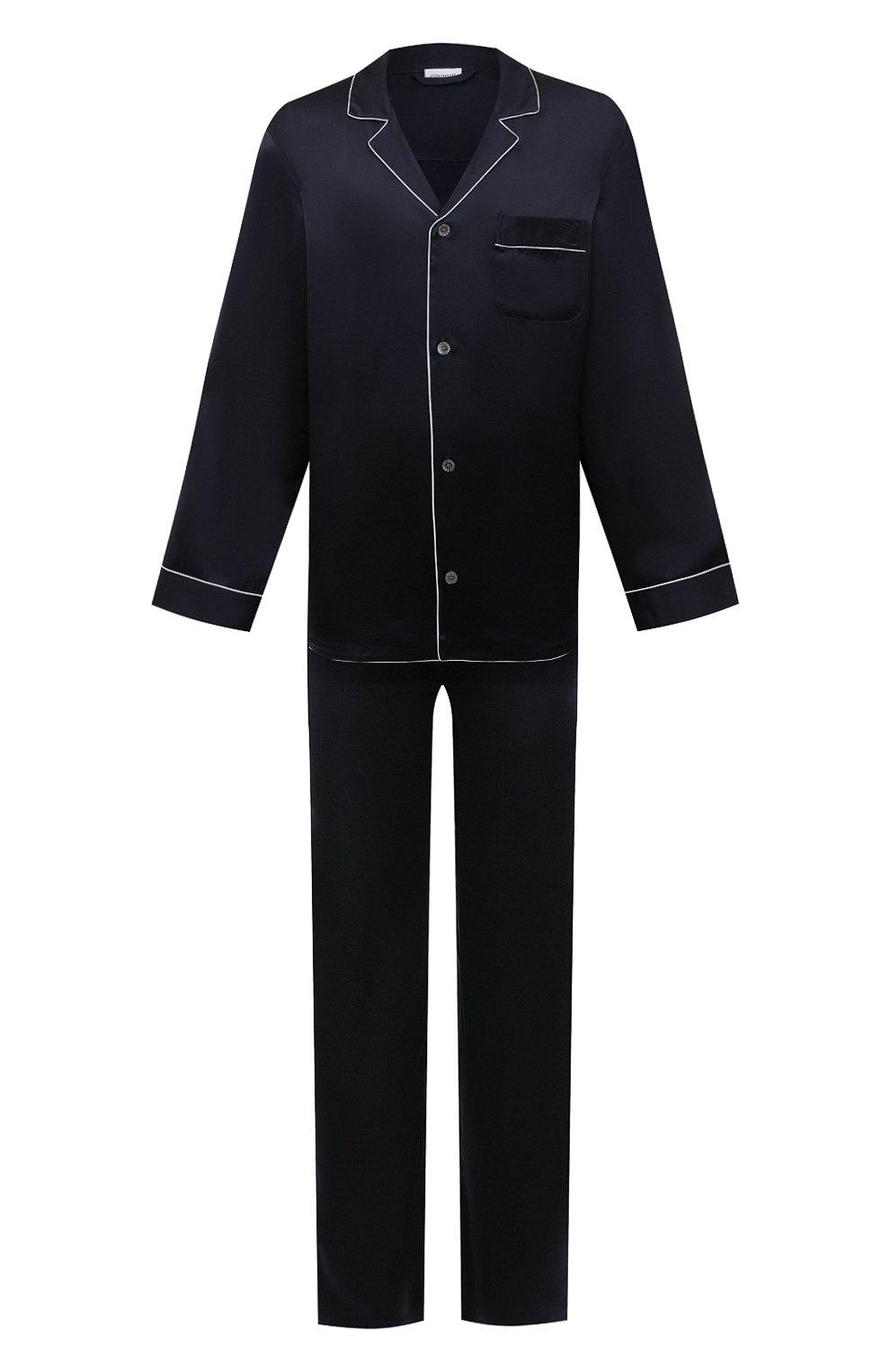 Мужская шелковая пижама ZIMMERLI темно-синего цвета, арт. 6000-75130   Фото 1 (Материал внешний: Шелк; Рукава: Длинные; Длина (брюки, джинсы): Стандартные; Кросс-КТ: домашняя одежда; Длина (для топов): Стандартные)