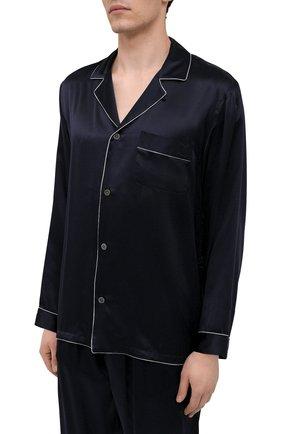 Мужская шелковая пижама ZIMMERLI темно-синего цвета, арт. 6000-75130   Фото 3 (Материал внешний: Шелк; Рукава: Длинные; Длина (брюки, джинсы): Стандартные; Кросс-КТ: домашняя одежда; Длина (для топов): Стандартные)
