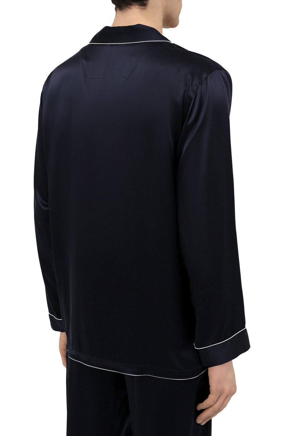 Мужская шелковая пижама ZIMMERLI темно-синего цвета, арт. 6000-75130   Фото 4 (Материал внешний: Шелк; Рукава: Длинные; Длина (брюки, джинсы): Стандартные; Кросс-КТ: домашняя одежда; Длина (для топов): Стандартные)