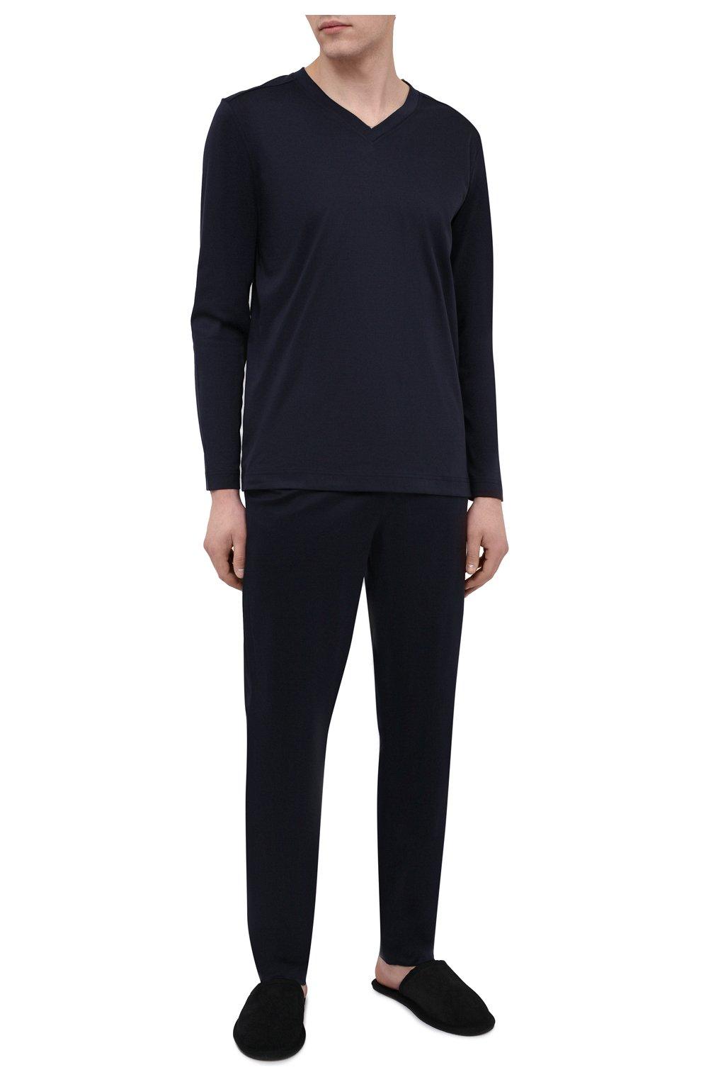 Мужские хлопковые домашние брюки ZIMMERLI темно-синего цвета, арт. 3460-95304 | Фото 2 (Длина (брюки, джинсы): Стандартные; Кросс-КТ: домашняя одежда; Мужское Кросс-КТ: Брюки-белье; Материал внешний: Хлопок)