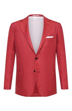 Мужской пиджак из кашемира и шелка KITON красного цвета, арт. UG81K06T46 | Фото 1 (Материал внешний: Кашемир, Шерсть; Стили: Классический; Рукава: Длинные; Пиджаки М: Приталенный; Длина (для топов): Стандартные; 1-2-бортные: Однобортные; Материал подклада: Купро; Случай: Повседневный)