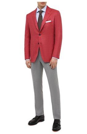 Мужской пиджак из кашемира и шелка KITON красного цвета, арт. UG81K06T46 | Фото 2 (Материал внешний: Кашемир, Шерсть; Стили: Классический; Рукава: Длинные; Пиджаки М: Приталенный; Длина (для топов): Стандартные; 1-2-бортные: Однобортные; Материал подклада: Купро; Случай: Повседневный)