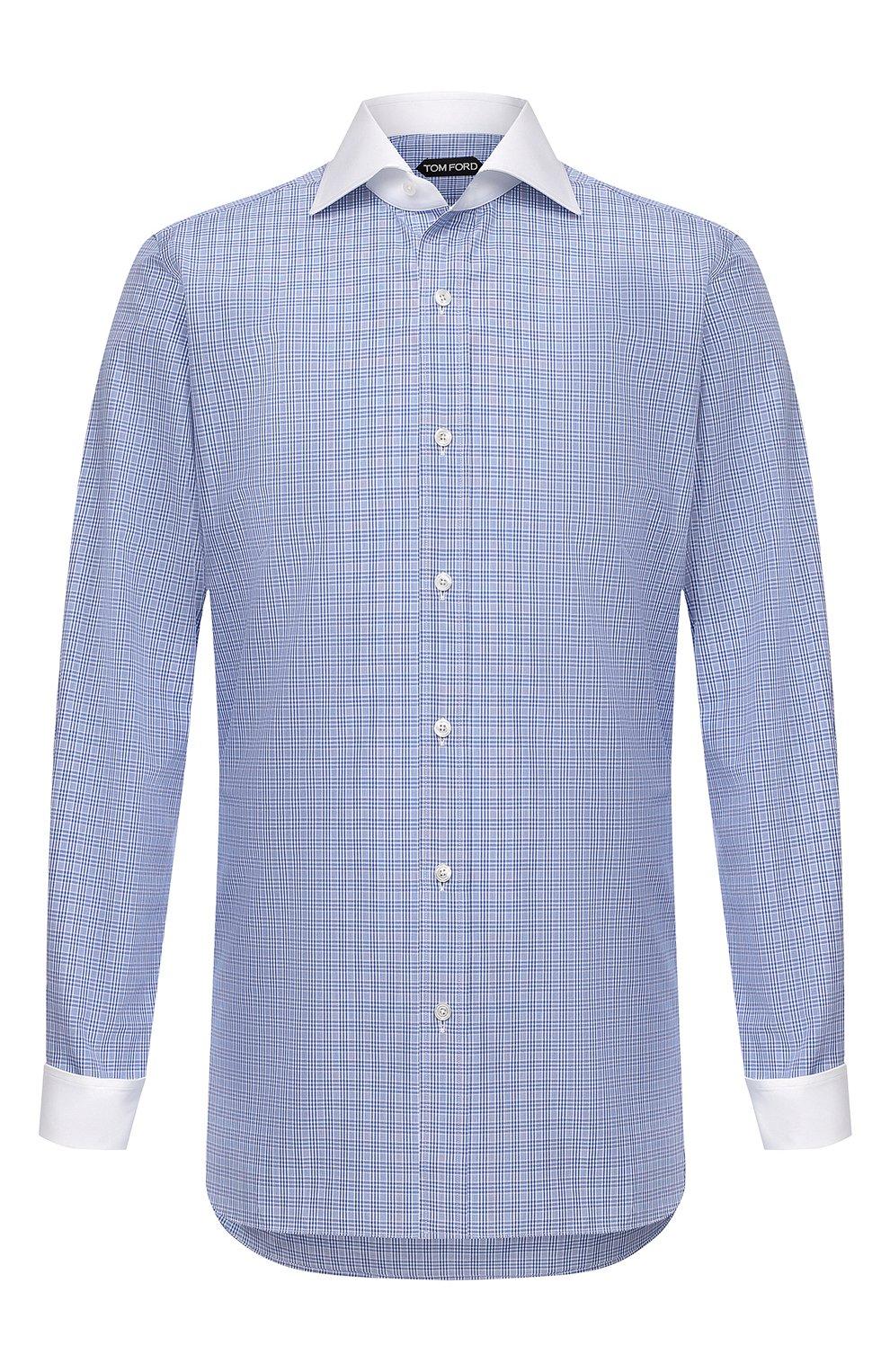 Мужская хлопковая сорочка TOM FORD синего цвета, арт. 9FT132/94SWAX | Фото 1