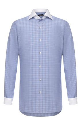 Мужская хлопковая сорочка TOM FORD синего цвета, арт. 9FT132/94SWAX | Фото 1 (Манжеты: На пуговицах; Длина (для топов): Стандартные; Случай: Формальный; Материал внешний: Хлопок; Стили: Классический; Рубашки М: Slim Fit; Рукава: Длинные; Воротник: Акула; Принт: Клетка)