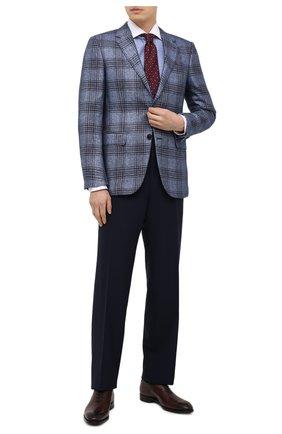 Мужская хлопковая сорочка TOM FORD синего цвета, арт. 9FT132/94SWAX | Фото 2 (Манжеты: На пуговицах; Длина (для топов): Стандартные; Случай: Формальный; Материал внешний: Хлопок; Стили: Классический; Рубашки М: Slim Fit; Рукава: Длинные; Воротник: Акула; Принт: Клетка)