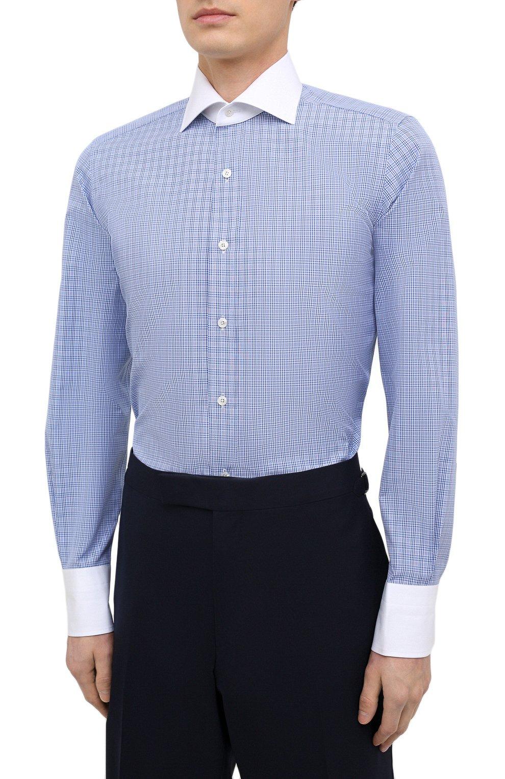 Мужская хлопковая сорочка TOM FORD синего цвета, арт. 9FT132/94SWAX | Фото 3