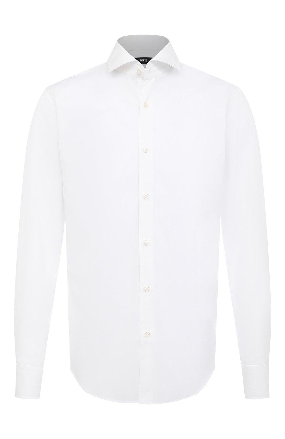 Мужская хлопковая сорочка BOSS белого цвета, арт. 50420214 | Фото 1