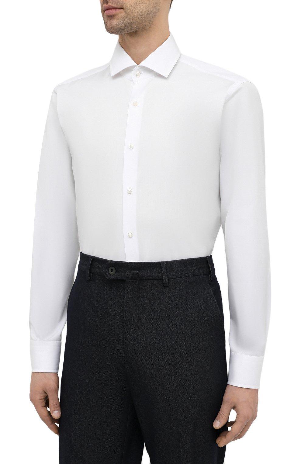 Мужская хлопковая сорочка BOSS белого цвета, арт. 50420214 | Фото 3