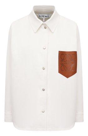 Женская хлопковая рубашка LOEWE кремвого цвета, арт. S359330XCG   Фото 1