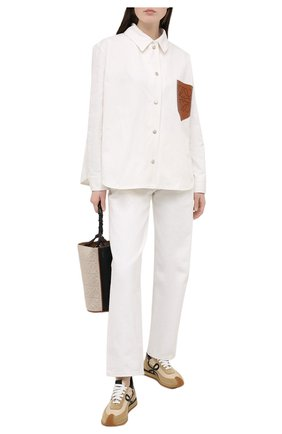Женская хлопковая рубашка LOEWE кремвого цвета, арт. S359330XCG   Фото 2