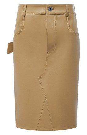 Женская кожаная юбка BOTTEGA VENETA бежевого цвета, арт. 647682/V05G0 | Фото 1