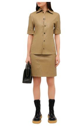 Женская кожаная юбка BOTTEGA VENETA бежевого цвета, арт. 647682/V05G0 | Фото 2