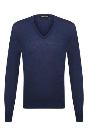 Мужской пуловер из кашемира и шелка TOM FORD синего цвета, арт. BWH99/TFK100 | Фото 1