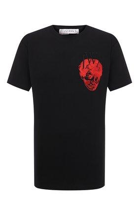 Мужская хлопковая футболка j.w. anderson x pol anglada JW ANDERSON черного цвета, арт. JT0010 PG0079 | Фото 1