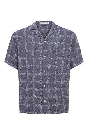 Мужская льняная рубашка JW ANDERSON темно-синего цвета, арт. SH0083 PG0211 | Фото 1