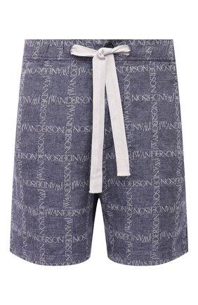 Мужские льняные шорты JW ANDERSON темно-синего цвета, арт. SR0019 PG0211 | Фото 1
