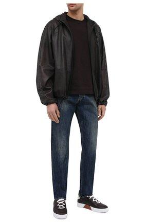 Мужские кожаные кеды tiziano ZEGNA COUTURE темно-коричневого цвета, арт. A4867X-LHNTP | Фото 2 (Материал внутренний: Натуральная кожа; Подошва: Массивная)
