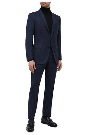 Мужские кожаные лоферы ERMENEGILDO ZEGNA синего цвета, арт. A4944X-LHNAX | Фото 2 (Стили: Классический; Материал внутренний: Натуральная кожа; Мужское Кросс-КТ: Лоферы-обувь)