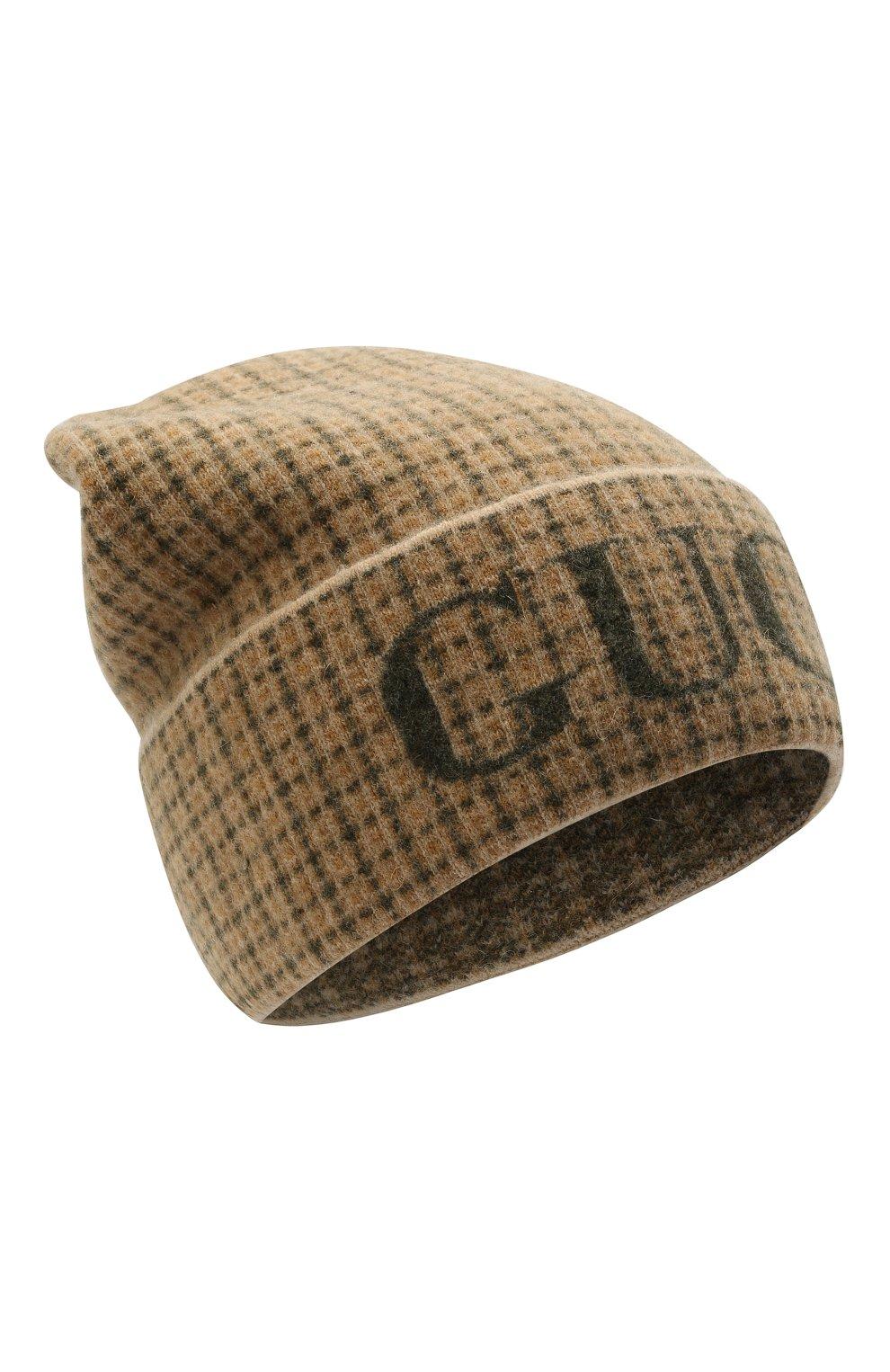 Мужская шерстяная шапка GUCCI бежевого цвета, арт. 649686/4GAAR | Фото 1 (Материал: Шерсть; Кросс-КТ: Трикотаж)