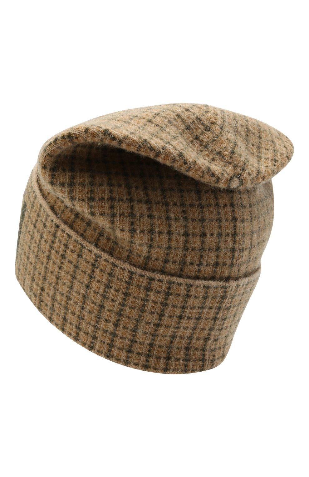Мужская шерстяная шапка GUCCI бежевого цвета, арт. 649686/4GAAR | Фото 2 (Материал: Шерсть; Кросс-КТ: Трикотаж)