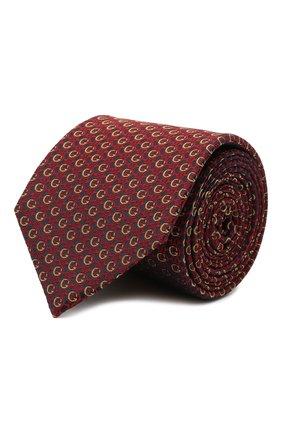 Мужской шелковый галстук GUCCI бордового цвета, арт. 643994/4E002   Фото 1