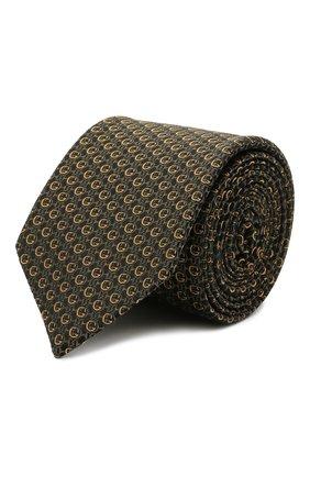 Мужской шелковый галстук GUCCI хаки цвета, арт. 643994/4E002 | Фото 1