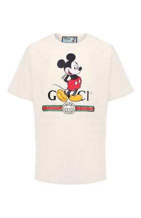 Мужская хлопковая футболка disney x gucci GUCCI светло-бежевого цвета, арт. 565806/XJB66 | Фото 1