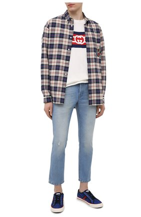 Мужские джинсы GUCCI синего цвета, арт. 408637/XDBK7 | Фото 2