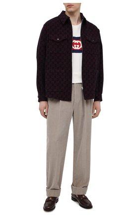 Мужские хлопковые брюки GUCCI бежевого цвета, арт. 644132/Z8AM8 | Фото 2