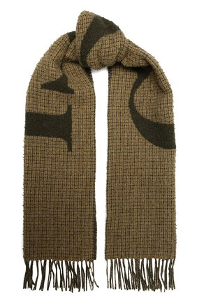 Мужской шерстяной шарф GUCCI хаки цвета, арт. 644403/4GA41 | Фото 1