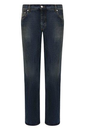 Мужские джинсы ALEXANDER MCQUEEN синего цвета, арт. 625680/QQY79 | Фото 1 (Силуэт М (брюки): Прямые; Материал внешний: Хлопок; Длина (брюки, джинсы): Стандартные; Кросс-КТ: Деним; Детали: Потертости; Стили: Кэжуэл)