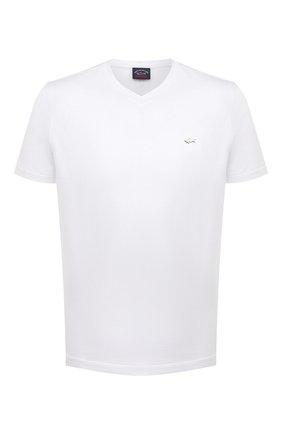 Мужская хлопковая футболка PAUL&SHARK белого цвета, арт. 21411015/C00 | Фото 1 (Материал внешний: Хлопок; Длина (для топов): Стандартные; Принт: Без принта; Рукава: Короткие; Стили: Кэжуэл)