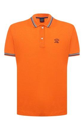 Мужское хлопковое поло PAUL&SHARK оранжевого цвета, арт. 21411298/C00 | Фото 1