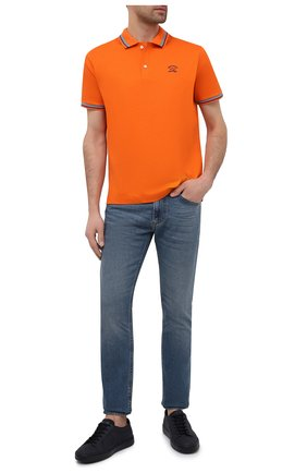 Мужское хлопковое поло PAUL&SHARK оранжевого цвета, арт. 21411298/C00 | Фото 2