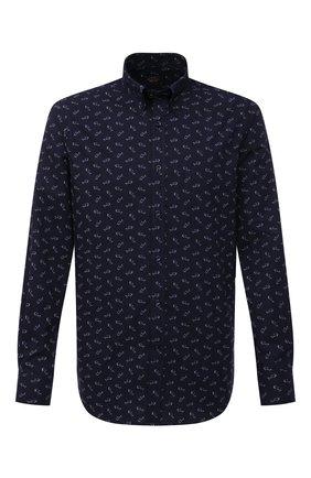 Мужская хлопковая рубашка PAUL&SHARK темно-синего цвета, арт. 21413262/C00 | Фото 1 (Рубашки М: Slim Fit; Длина (для топов): Стандартные; Манжеты: На пуговицах; Воротник: Button down; Случай: Повседневный; Стили: Кэжуэл; Рукава: Длинные; Материал внешний: Хлопок; Принт: С принтом)