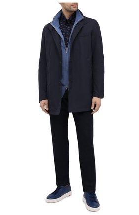 Мужская хлопковая рубашка PAUL&SHARK темно-синего цвета, арт. 21413262/C00 | Фото 2 (Рубашки М: Slim Fit; Длина (для топов): Стандартные; Манжеты: На пуговицах; Воротник: Button down; Случай: Повседневный; Стили: Кэжуэл; Рукава: Длинные; Материал внешний: Хлопок; Принт: С принтом)