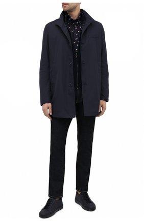 Мужская хлопковая рубашка PAUL&SHARK темно-синего цвета, арт. 21413452/C00 | Фото 2