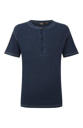Мужская хлопковая футболка RRL синего цвета, арт. 782775288 | Фото 1