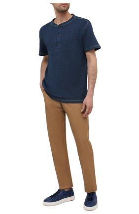Мужская хлопковая футболка RRL синего цвета, арт. 782775288 | Фото 2