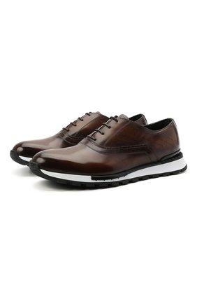 Мужские кожаные кроссовки BERLUTI коричневого цвета, арт. S5425-001 | Фото 1