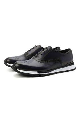 Мужские кожаные кроссовки BERLUTI синего цвета, арт. S5322-001   Фото 1