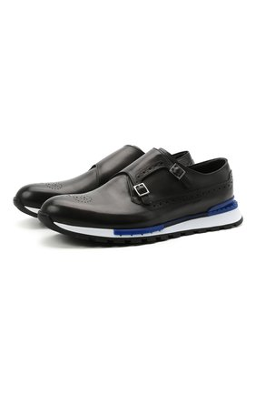 Мужские кожаные кроссовки BERLUTI темно-серого цвета, арт. S5321-001   Фото 1 (Материал внутренний: Натуральная кожа; Подошва: Массивная; Стили: Классический; Материал внешний: Кожа)