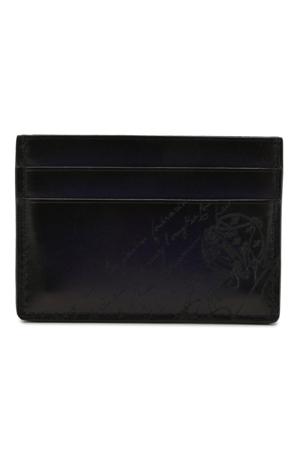 Мужской кожаный футляр для кредитных карт BERLUTI темно-синего цвета, арт. N214777 | Фото 1