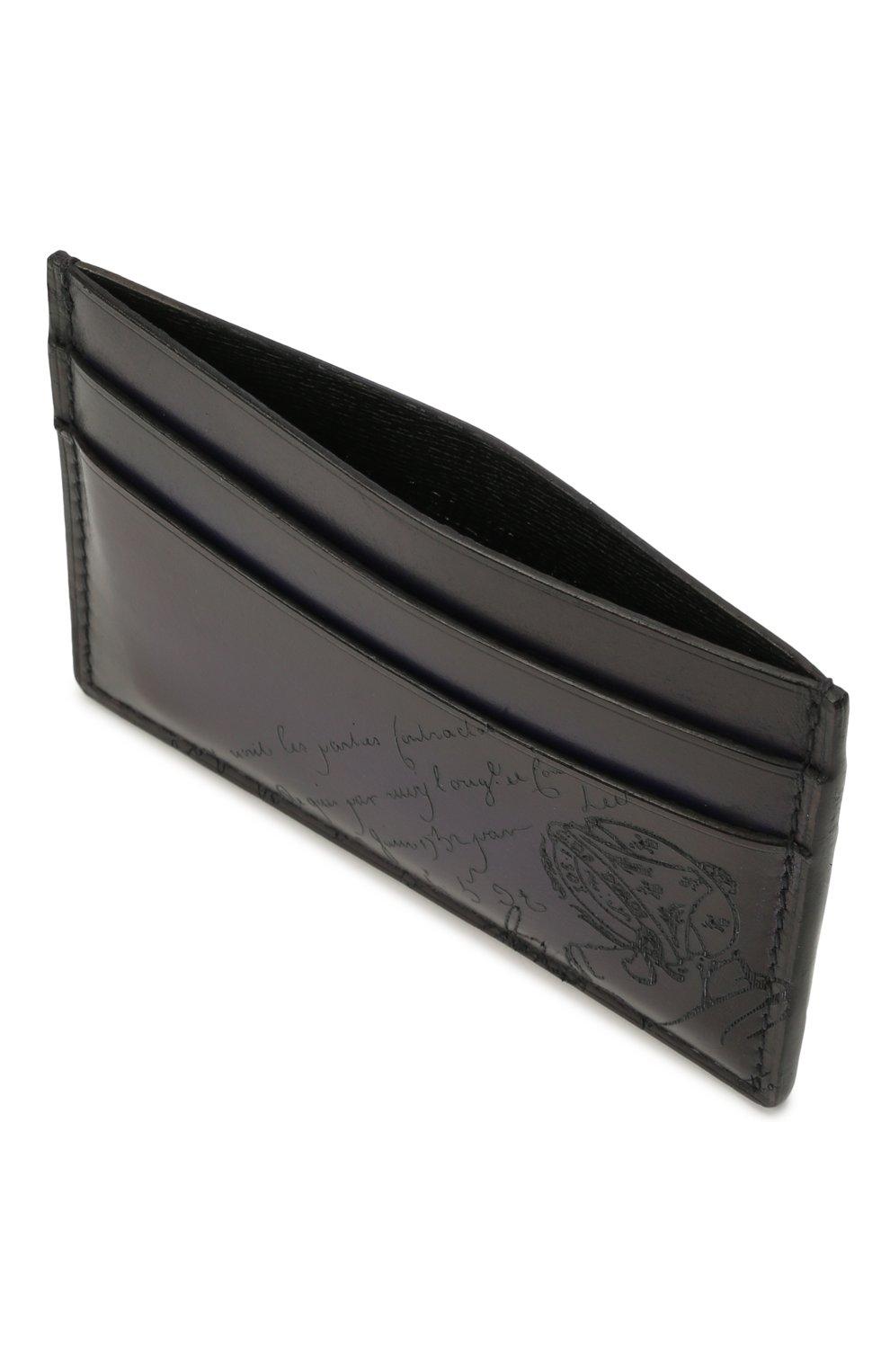 Мужской кожаный футляр для кредитных карт BERLUTI темно-синего цвета, арт. N214777 | Фото 3